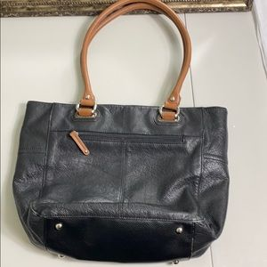 Tignanello Black and Tan leather shoulder bag